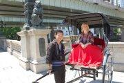 Karen Bowerman enjoys a rickshaw ride, Tokyo