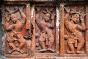 Bas relief sculptures at a temple in Puthia, Bangladesh