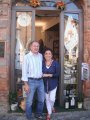 Mario and Maria Rosa outside their shop in Verucchio