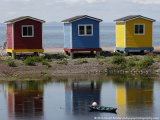 Colourful huts by the seaside at Hearts Delight