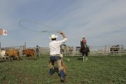 George shows how to use a lasso at La Reata ranch