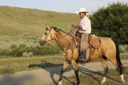 Ranch owner George riding at La Reata