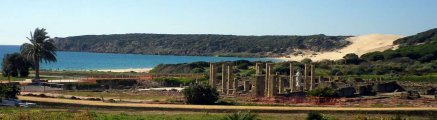 The Roman ruins and beach at Bolonia