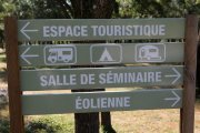 Signs for facilities on the campsite
