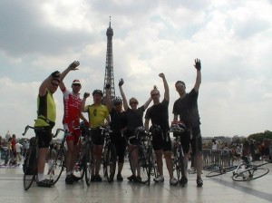 Celebrating London to Paris Cycle Challenge finish