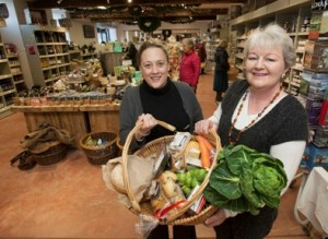 The Tourism Partnership launch campaign for food in North wales with excellent welsh produce at Bodnant Foods, Conwy. Pictured  Tansy Rogerson and Carole Startin with a small selection of what's on offer in the shop