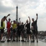 Celebrating London to Paris Cycle Challenge finish