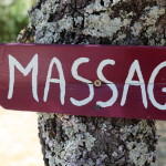 A sign for the massage facilities